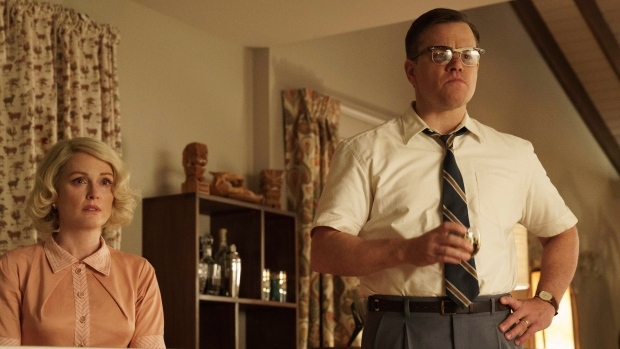 """This file image released by Paramount Pictures shows Julianne Moore, left, and Matt Damon in a scene from """"Suburbicon."""" (Hilary Bronwyn Gayle/Paramount Pictures via AP)"""