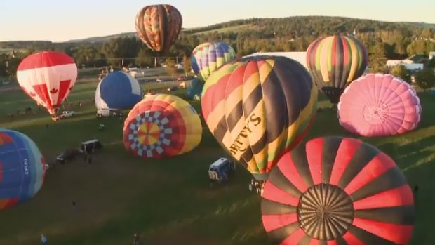 Thirty-six hot air balloons started to take flight at dawn for the event in Sussex, New Brunswick, Sept. 8, 2017.
