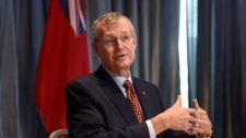 Ed Clark, Chair, Premier's Advisory Council on Government Assets during an announcement held at the Mill Street Brew Pub providing updates on beer being sold in Ontario grocery stores in Toronto, Wednesday, Sept, 23, 2015. THE CANADIAN PRESS/Marta Iwanek