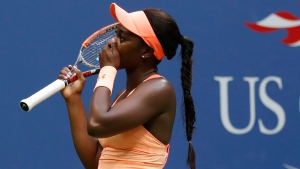 Sloane Stephens, of the United States, reacts after beating Madison Keys, of the United States, in the women's singles final of the U.S. Open tennis tournament, Saturday, Sept. 9, 2017, in New York. (AP Photo / Adam Hunger)
