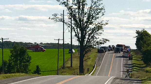 Two dead, one trapped in collision in Mapleton Township, Ont., police say