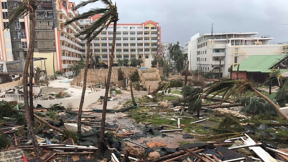 This Sept. 6, 2017 photo shows storm damage in the aftermath of Hurricane Irma in St. Martin. Irmacut a path of devastation across the northern Caribbean, leaving thousands homeless after destroying buildings and uprooting trees. Significant damage was reported on the island known as St. Maartin in English which is divided between French Saint-Martin and Dutch Sint Maarten. (Jonathan Falwell via AP)