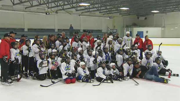 About 50 children from the Calgary area took part in the camp at Henry Viney Arena on Saturday.