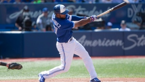 Toronto Blue Jays Teoscar Hernandez hits a three-run homer off Detroit Tigers pitcher Anibal Sanchez during fifth inning Major League baseball action in Toronto on Sunday, September 10, 2017. (THE CANADIAN PRESS / Chris Young)
