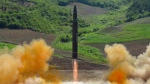 What was said to be the launch of a Hwasong-14 intercontinental ballistic missile, ICBM, in North Korea is seen in this image released on  July 4, 2017. (Korean Central News Agency / Korea News Service)