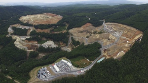 An aerial view of a gold mine complex in Skouries, in the Halkidiki peninsula, northern Greece. (Hellas Gold via AP)