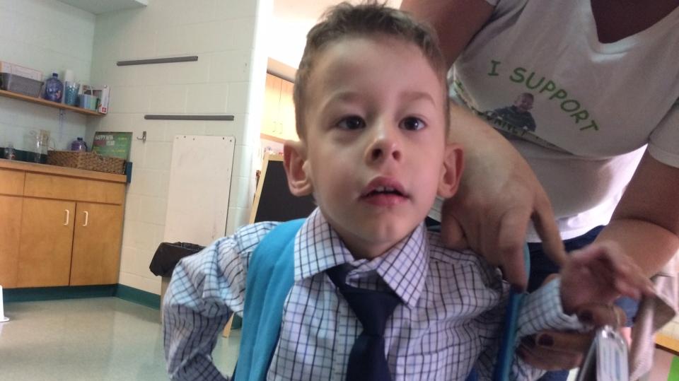 Ethan van Ekelenburg-Scharman walked into school on Monday, Sept. 11, 2017 in Bracebridge, Ont. (Rob Cooper/ CTV Barrie)