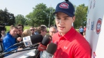 Montreal Canadiens forward Jonathan Drouin speaks to the media before the team's annual charity golf tournament Monday, September 11, 2017 in Laval, Que. THE CANADIAN PRESS/Ryan Remiorz