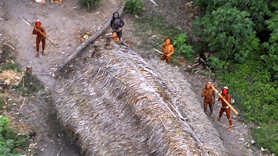 This image released by Survival International, shows uncontacted aboriginals of the Ethno-Environmental Protected Area along the Envira river, in the Brazilian state of Acre, close to the border with Peru, photographed in May 2008.