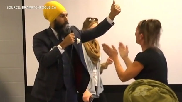 Jagmeet Singh is seen addressing a heckler at a campaign event in Brampton last week. (Brampton Focus)