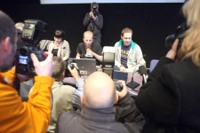 Pirate Bay founders Gottfrid Svartholm Warg and Peter Sunde  speak to the media on Sunday, Feb. 15, 2009, before their landmark copyright trial opened in Sweden. (AP / Scanpix Sweden, Fredrik Persson