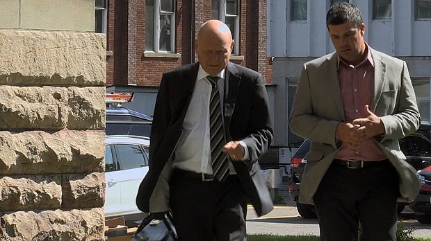 Trevor Zachary (right) pictured entering the Sault Ste. Marie Courthouse on September 11 with his lawyer Bruce Willson.
