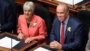 Premier John Horgan and Deputy Premier Carole Jame