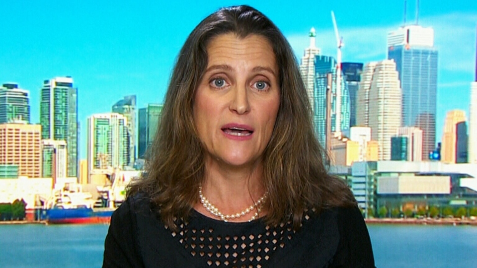 Foreign Affairs Minister Chrystia Freeland speaks with CTV's Power Play host Don Martin on Monday, Sept. 11, 2017.