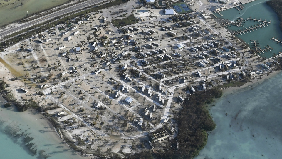 Overturned trailer homes in the Florida Keys are shown in the aftermath of Hurricane Irma on Monday, Sept. 11, 2017. (Matt McClain / The Washington Post)