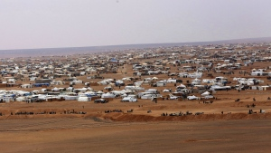 The informal Rukban camp for displaced Syrians, between the Jordan and Syria borders is seen on Feb. 14, 2017. (AP / Raad Adayleh)