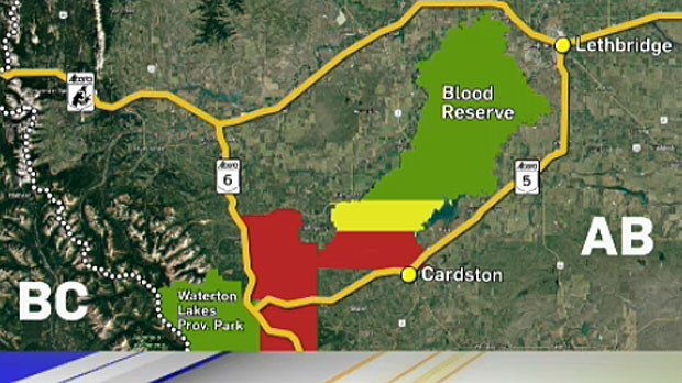 Officials have issued an evacuation alert for areas east of Waterton Lakes National Park.