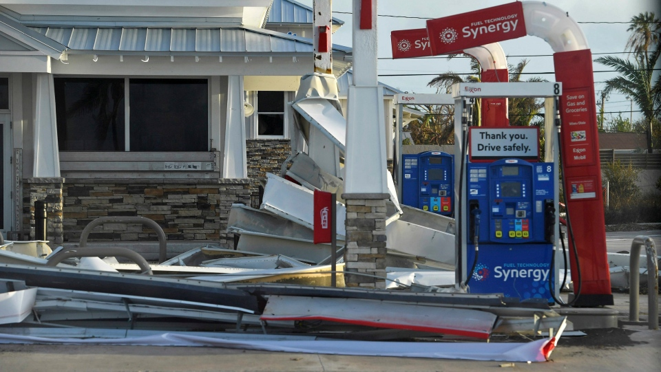 Debris lies on the ground of a gas station in the aftermath of Hurricane Irma, Monday, Sept. 11, 2017, in the Florida Keys. (Matt McClain/The Washington Post via AP, Pool)