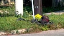 cyclist, leg injury, garbage truck