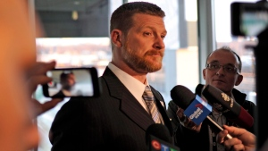 Mike O'Shea talks to media before his induction into the Canadian Football Hall of Fame Class of 2017 at Mosaic Stadium in Regina, Sask., March 22, 2017. (Mark Taylor/THE CANADIAN PRESS)