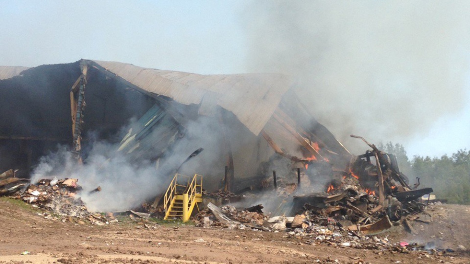 The recycling facility at the Cumberland Central Landfill has been destroyed by fire.