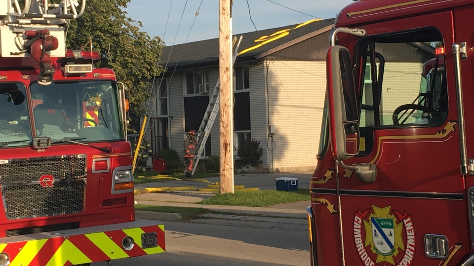 Firefighters work at the scene of a fire on Elliott Street in Cambridge on Monday, Sept. 11, 2017. (Katarina Milicevic / CTV Kitchener)