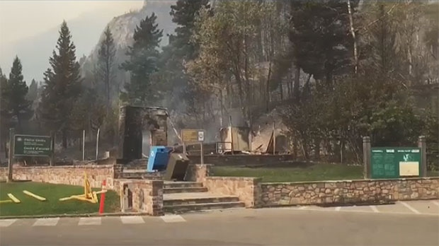 The visitor centre at the entrance to Waterton Lakes National Park was destroyed by the Kenow wildfire on Tuesday, September 12, 2017. (Photo courtesy: Wes Dewsbery)