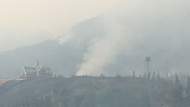 Smoke can be seen near the Prince of Wales Hotel in Waterton Lakes National Park. (Photo courtesy: Wes Dewsbery)