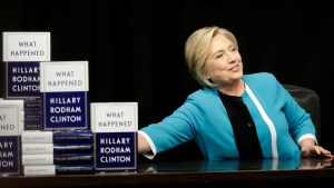 Hillary Rodham Clinton prepares to sign copies of her book 'What Happened' at a book store in New York, Tuesday, Sept. 12, 2017. (AP Photo / Seth Wenig)