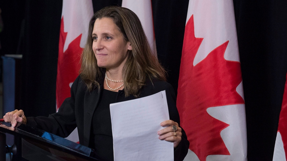 Foreign Affairs Minister Chrystia Freeland talks to reporters about disaster relief as the Liberal cabinet meets in St. John's, N.L. on Tuesday, Sept. 12, 2017. (Andrew Vaughan / THE CANADIAN PRESS)