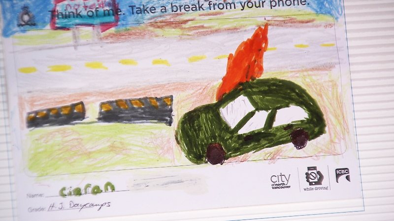 North Vancouver children made dozens of cards to be handed out to drivers passing through school zones as a warning of the dangers of distracted driving.