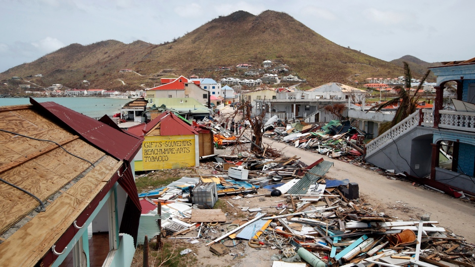View of the partially buildings destroyed by Irma on St. Martin, Tuesday, Sept. 12, 2017. (AP Photo/Christophe Ena, Pool)