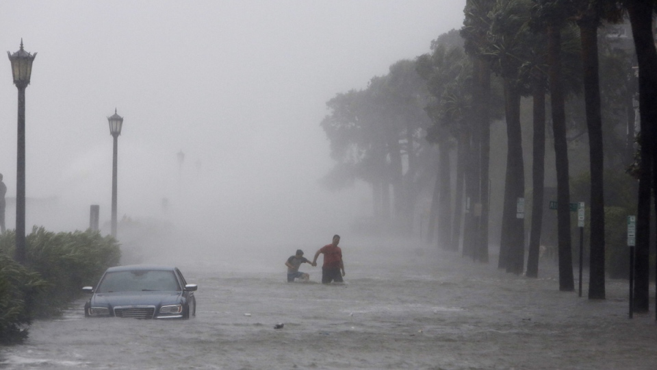 A flooded street as Tropical Storm Irma hits Charleston, S.C., on Sept. 11, 2017 (Mic Smith / AP)