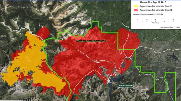 The Kenow Fire ballooned in size from Monday into Tuesday. (Parks Canada)