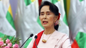 In this Friday, Aug. 11, 2017, file photo, Myanmar's State Counsellor Aung San Suu Kyi delivers an opening speech during the Forum on Myanmar Democratic Transition in Naypyitaw, Myanmar. (AP / Aung Shine Oo)