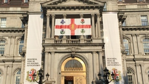 The city of Montreal's displayed its new flag on Sept. 13, 2017. In addition to the fleur-de-lys, rose of Lancaster, thistle, and shamrock that represent the French, English, Scottish, and Irish people, it includes a White Pine at its centre to represent indigenous people.