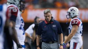 Montreal Alouettes' head coach Jacques Chapdelaine walks on the sideline during the first half of a CFL football game against the B.C. Lions in Vancouver, B.C., on Friday September 8, 2017.  (Darryl Dyck/THE CANADIAN PRESS)