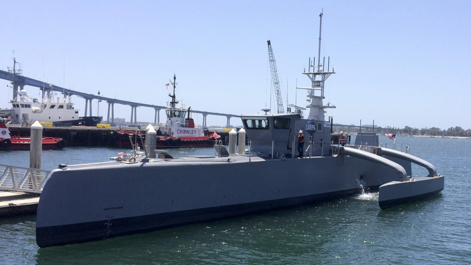 A self-driving, 132-foot military ship in San Diego, Calif., on May 2, 2016. (Julie Watson / AP)