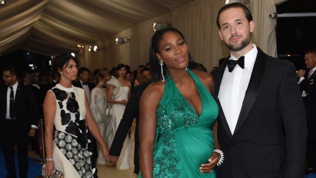Serena Williams, left, and Alexis Ohanian