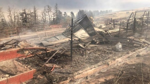 Fire damage to the Rocking Heart Ranch just outside Waterton Lakes National Park. (THE CANADIAN PRESS / HO-Sierra Garner)