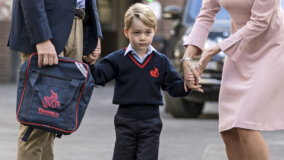 Prince George on his first day of school in Battersea, London, on Sept. 7, 2017. (Richard Pohle / Pool Photo via AP)