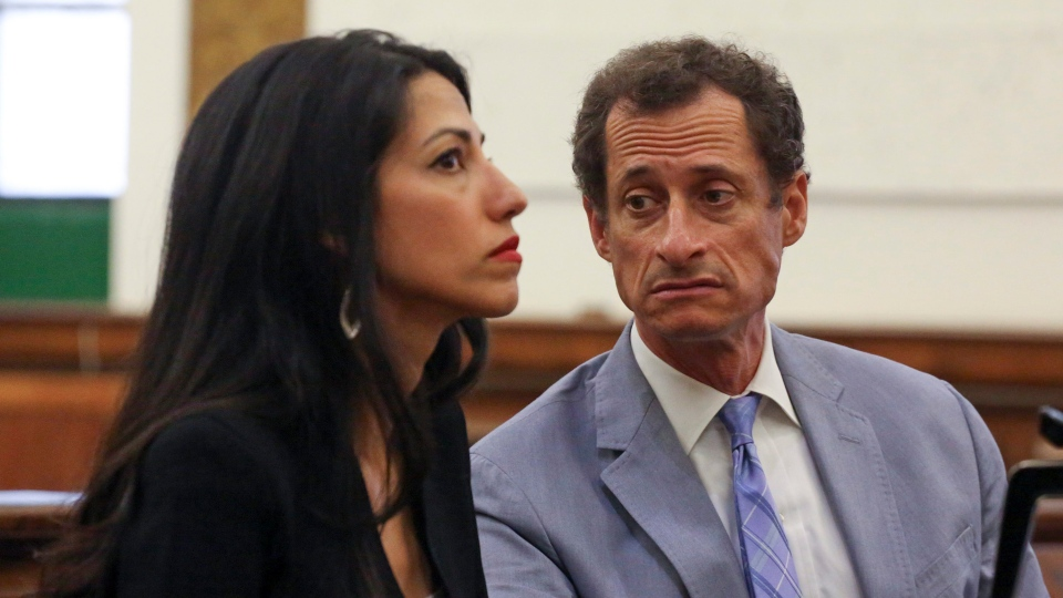 Anthony Weiner, right, and Huma Abedin appear in court in New York on Wednesday, Sept. 13, 2017. The couple asked a New York City judge to ask for privacy in their divorce case. (Jefferson Siegel / The Daily News via AP, Pool)