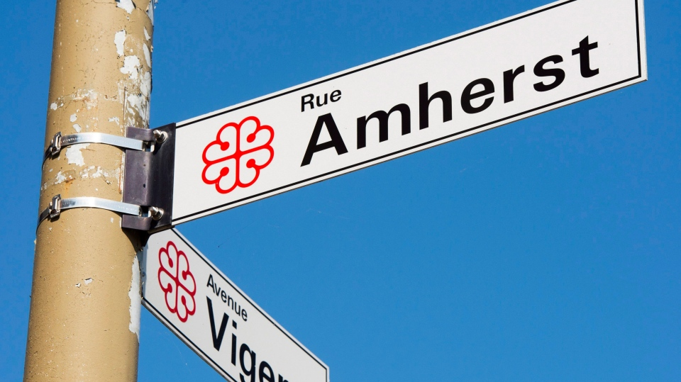 The sign for Amherst Street is seen Wednesday, Sept. 13, 2017 in Montreal. Amherst Street is named after the British general who supported giving smallpox-laced blankets to the Indigenous people living here in the 1700s. (THE CANADIAN PRESS/Ryan Remiorz)
