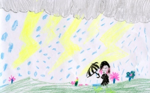 Weather art by Marielle and Maddie, age 8, from Pebble Hill Elementary School.