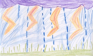 Weather art by Olivia, age 7, from Rosedale Traditional Community School.