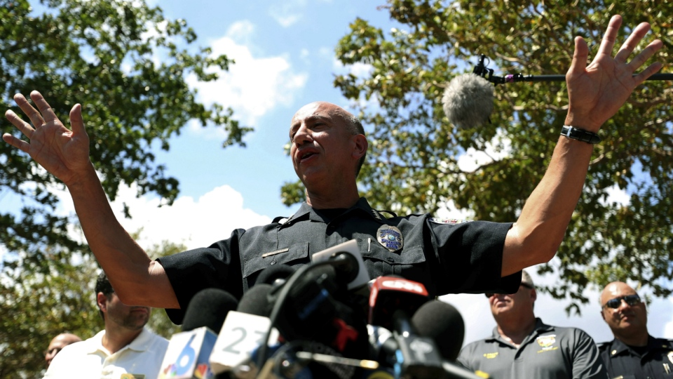 Hollywood Police chief Tomas Sanchez answers questions outside the Rehabilitation Center at Hollywood Hills in Hollywood, Fla. on Wednesday, Sept. 13, 2017. (John McCall / South Florida Sun-Sentinel)