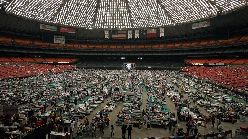 Katrina evacuees from New Orleans take shelter in Houston's Astrodome on Sept. 3, 2005. (AP /Pat Sullivan)