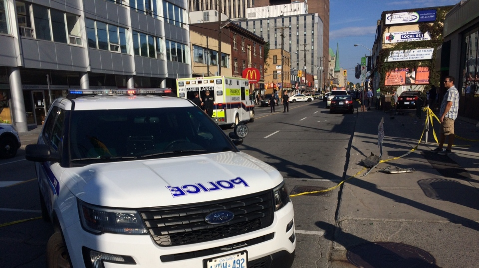 A woman was critically injured when she was struck on Elgin Street at Somerset on Thursday, Sept. 14, 2017. (Jim O'Grady/CTV Ottawa)