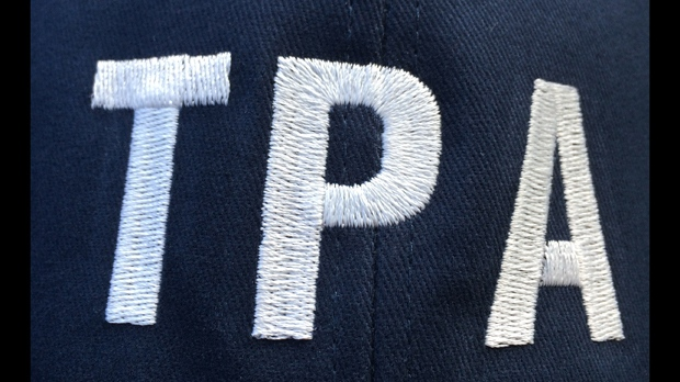 A hat to be worn by Toronto police officers participating in job action is seen. (TPA)