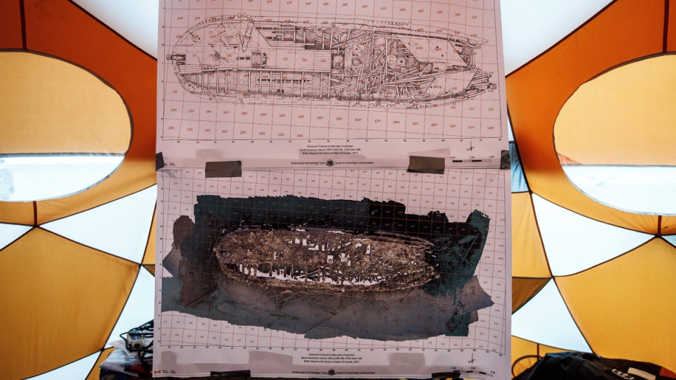 A diagram of the HMS Erebus in a tent at Davit camp on Saunitalik Island near Gjoa Haven Nunavut, on Sept. 1, 2017. (Jason Franson / THE CANADIAN PRESS)